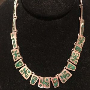 Jewelry - Vtg Mexican Sterling Silver & Malachite Necklace